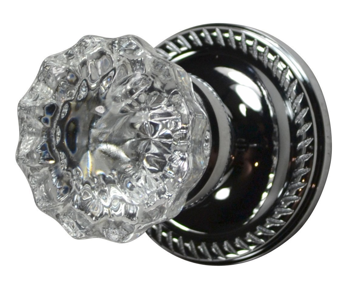 Regency Fluted Glass Door Knob Set with Georgian Roped Rosette in Polished Chrome (Privacy Bed / Bath)