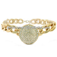 Bling Rhinestone ROUND Statement Necklace Link Chain Choker -Gold