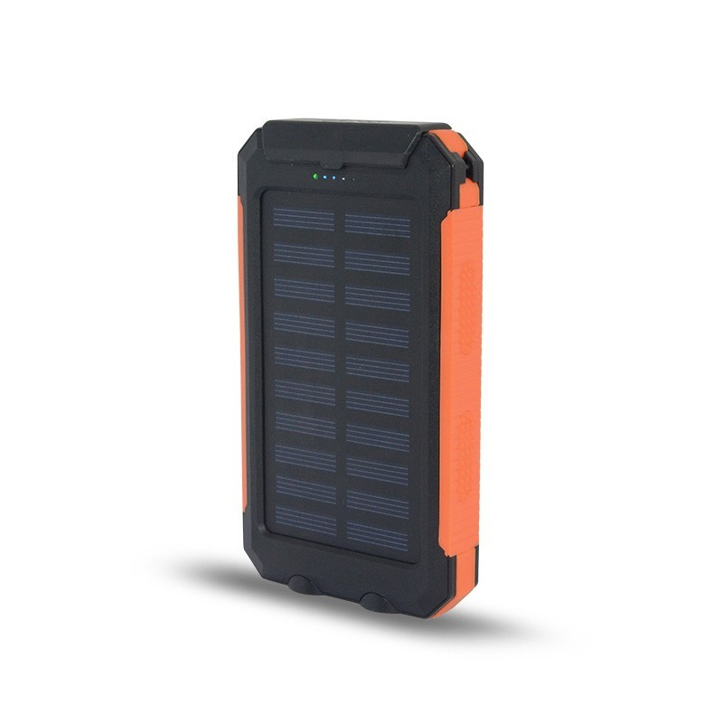 8000mAh Power Bank Waterproof Portable Solar Charger Dual USB Lamp Battery  Li-polymer Battery inside with LED Light and compass