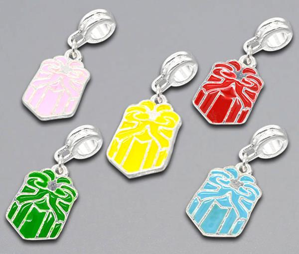 Mixed Silver Plated Enamel Gift Box Charm Dangle Beads Fit European Charm 31x12mm