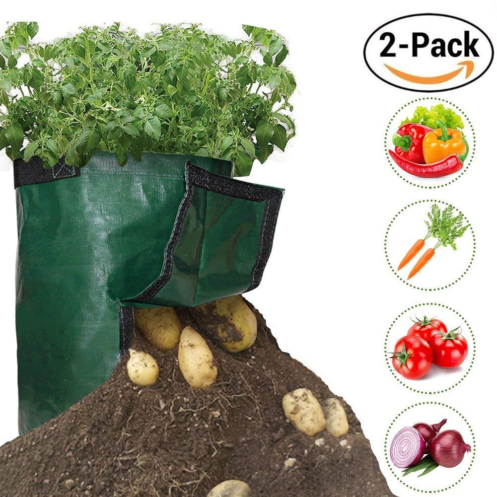 2 Pack 10 Gallon Garden Planter Grow Bags with Access Handles and Flap for Harvesting, Grow Vegetables Plant Tub for Potato, Carrot, Tomato, Onion - Heavy Duty & Durable Bags