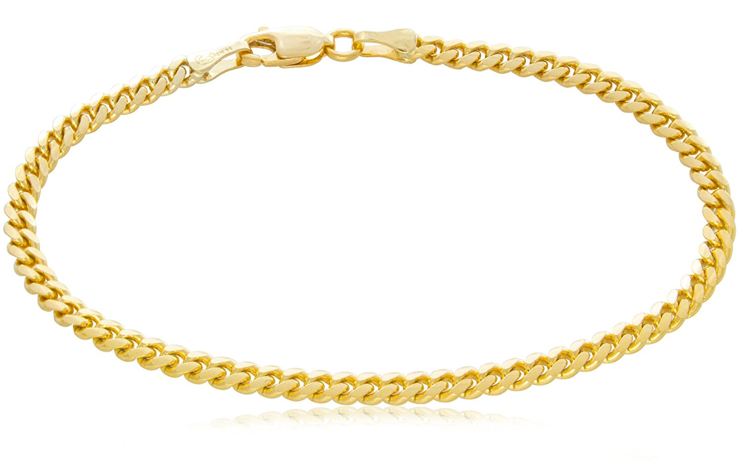 Trusted Jewelers Solid 14K Yellow Gold Miami Cuban 3.2mm Link Chain Bracelet | Mid-Weight Width Polished Finish | 7 – 8½""