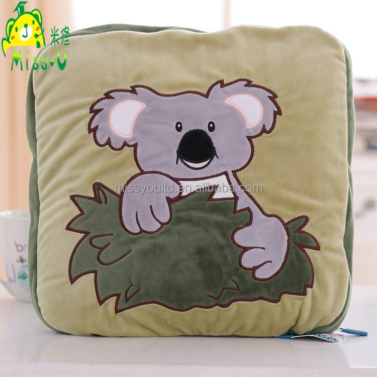 High Quality Customized Soft Lovely Plush Blanket Pillow Forest Animal Koala Bear Plush Blanket