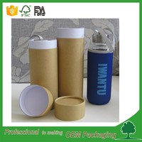 strong quality eco friendly kraft cardboard bottle packaging box paper tube plain printing glass bottle packaging tube gift box