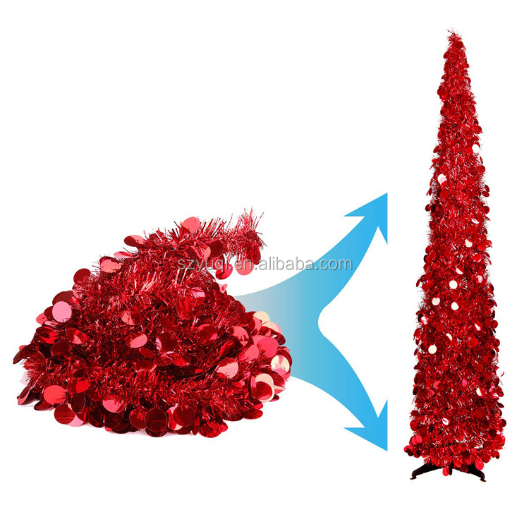 5ft Pop Up Shiny Tinsel Decorative Artificial Pencil Christmas Trees