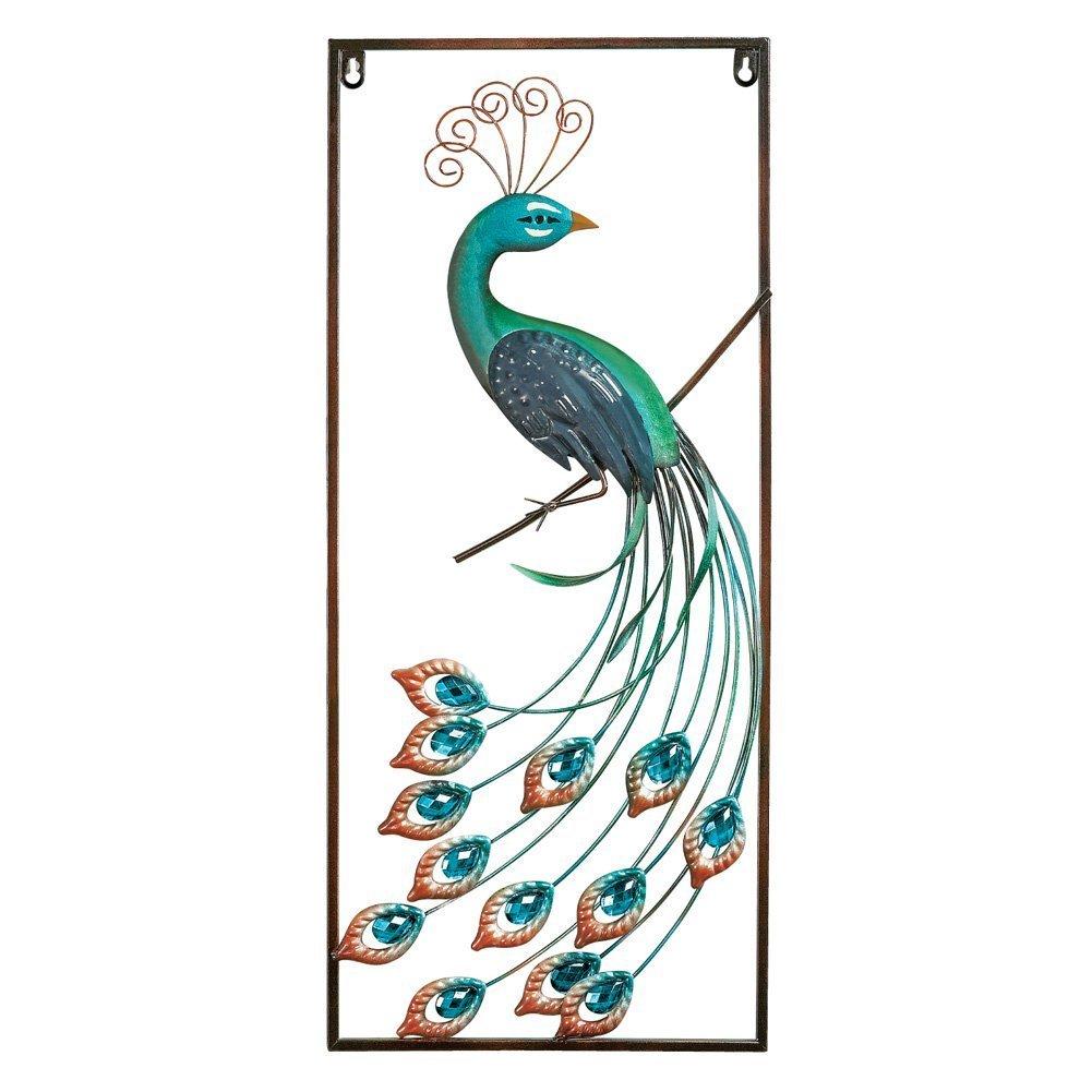 Get Quotations · Metal Elegant Peacock Wall Art