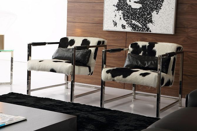Comfortable black white fur cover modern cowhide accent chair with