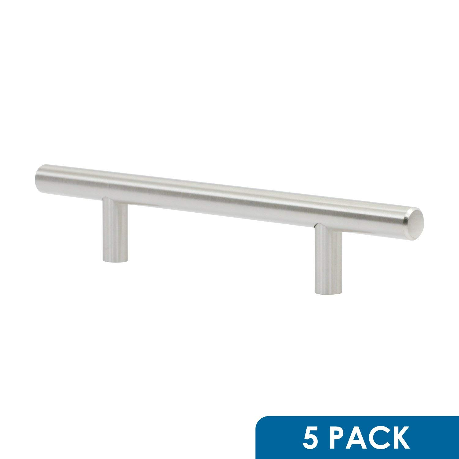 """5 Pack Rok Hardware 4-1/4"""" (108mm) Hole Modern Bar Style Brushed Nickel Kitchen Vanity Dresser Cabinet Pull Handle 7-13/32"""" (188mm) Overall Length P503108BN"""