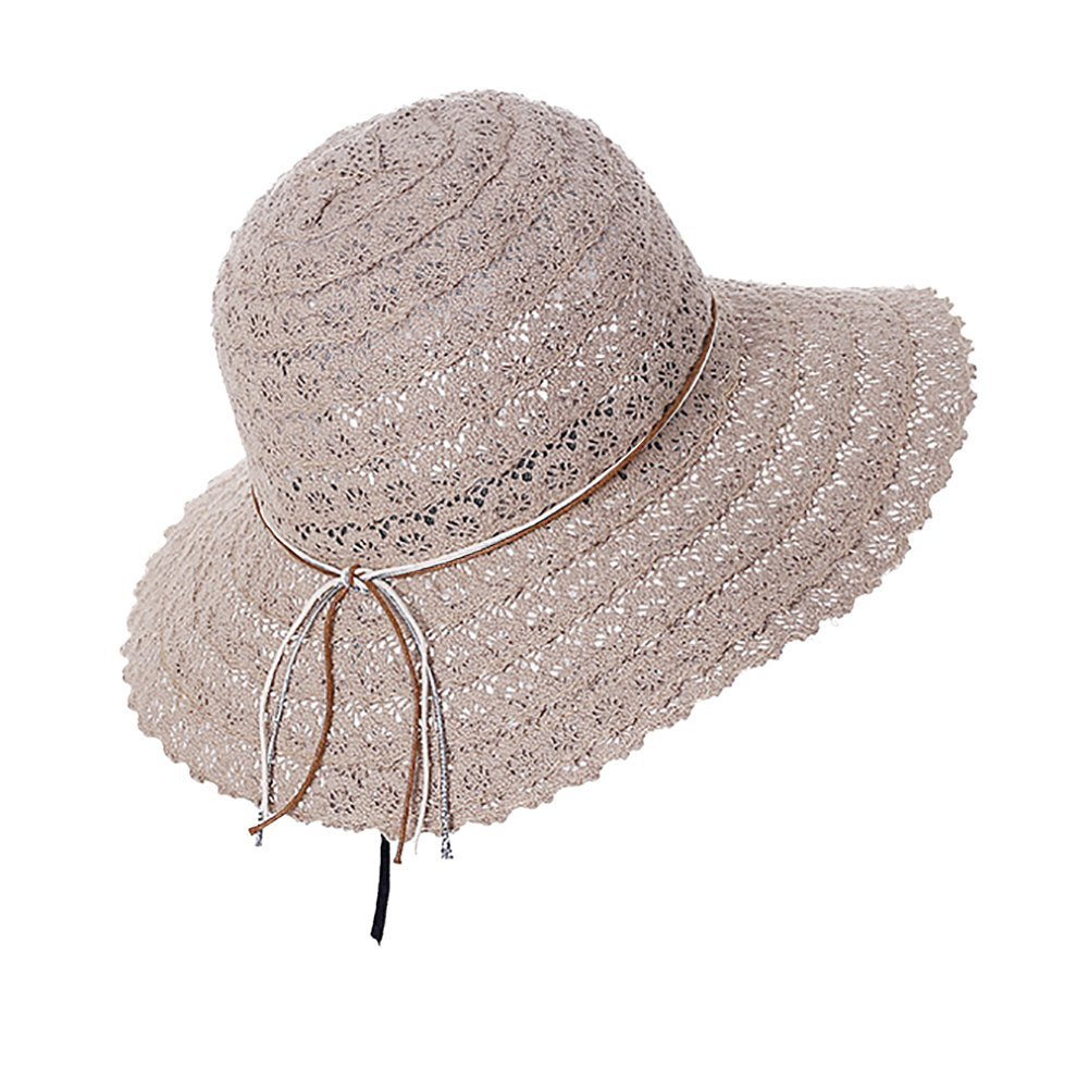 005c134c5b46ac Get Quotations · Yunhigh Summer Beach Sun Hat for Women, Lace Floppy  Foldable Beach Hat with Adjustable Strap
