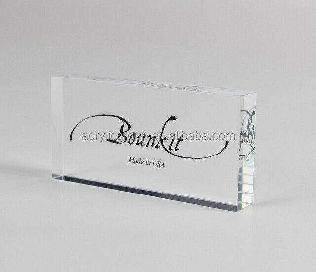 Clear Acrylic Display Print Engraved Logo Block