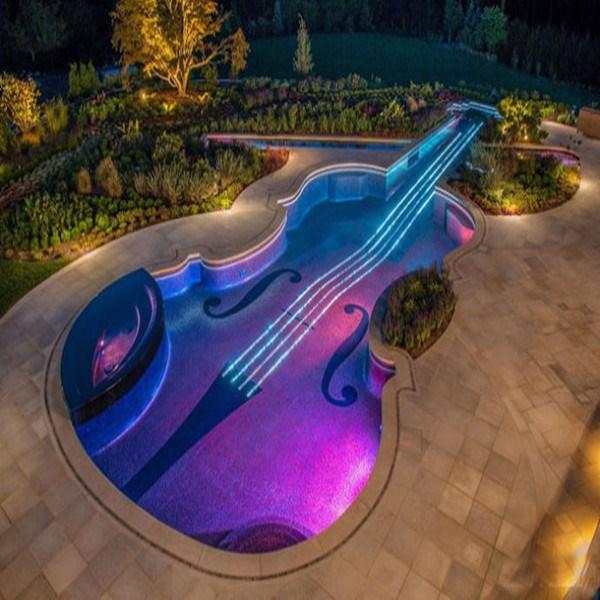 Creative swim pool design fiber optic lighting pool for Pool design lighting