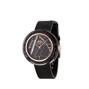 AMEXI Unisex Watches Couple Watches Black Leather Strap Marble Round Wristwatches