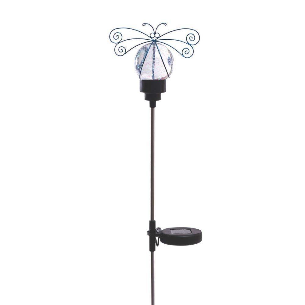 Russco III GS134493 Solar Powered Water Globe Garden Stake, Blue Dragonfly