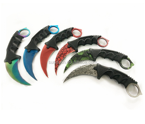 3Cr13Mov Steel Blade ABS Handle Rainbow Color Coated Blade Claw Karambit Design Survival Knife
