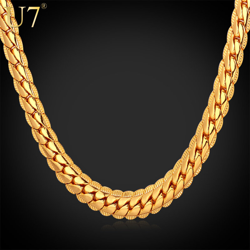 18K Real Gold Plated Necklace With 18K Stamp Men Jewelry Wholesale New Trendy 3 Colors 6