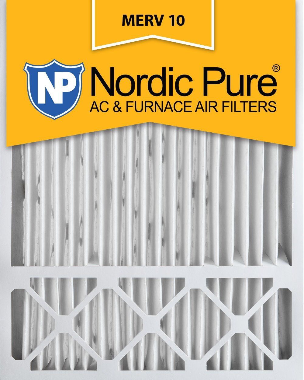 Nordic Pure 20x25x5 (4-3/8 Actual Depth) MERV 10 Honeywell Replacement Pleated AC Furnace Air Filter, Box of 4