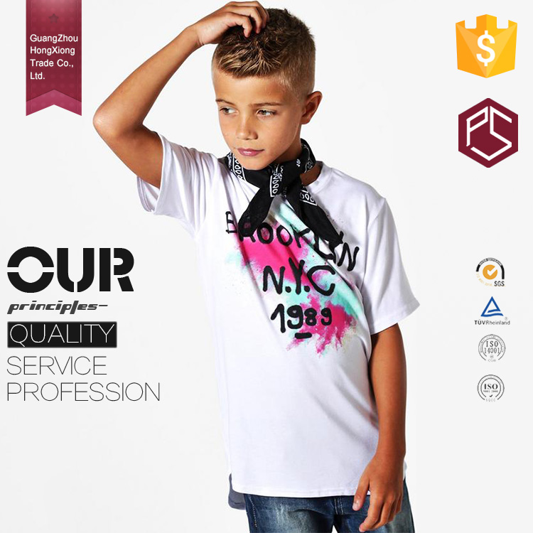 HongXiong professional OEM service summer cool style 100% cotton comfortable round neck white boys t shirt