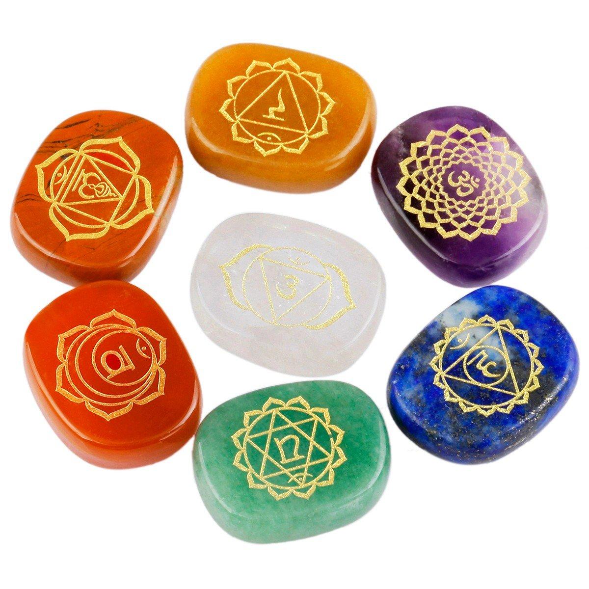 rockcloud Healing Crystal 7 Chakra Stones Polished Engraved Palm Pocket Stone Reiki Balancing