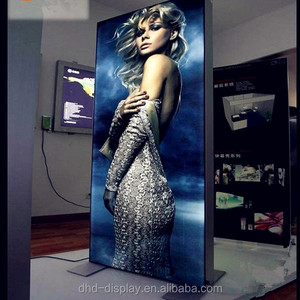 led display stand floor standing trade show 2 sided fabric light box