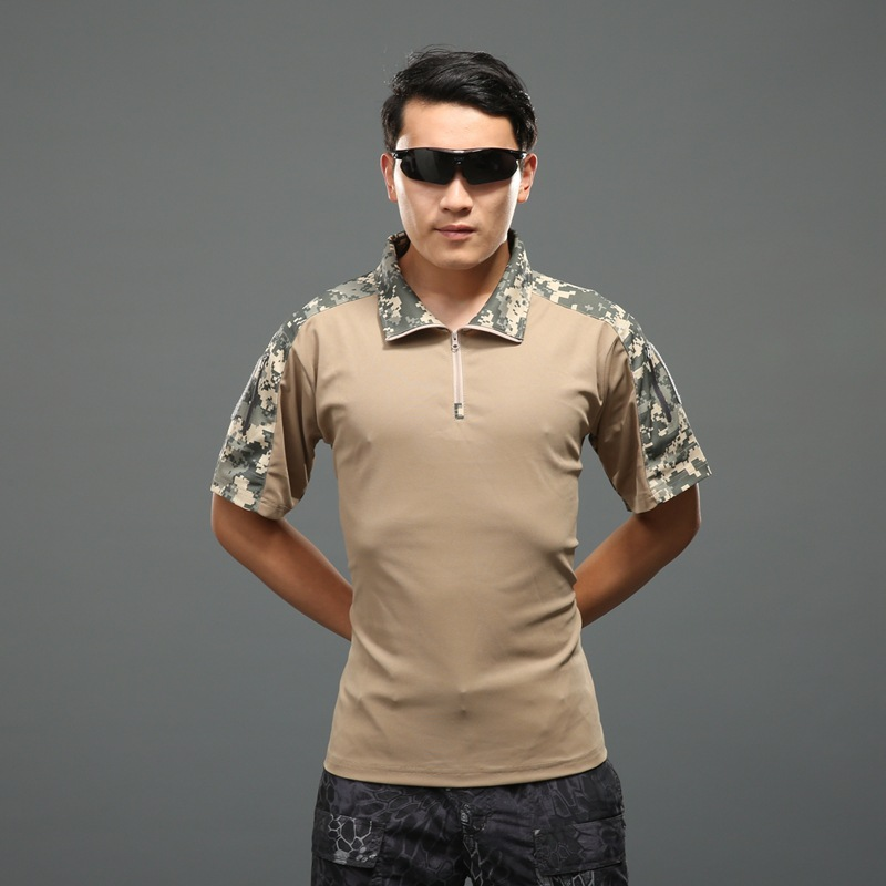 4fa6c56c6 LANBAOSI Tactical Polo T-shirt for Men Short Sleeve Camo Combat T ...