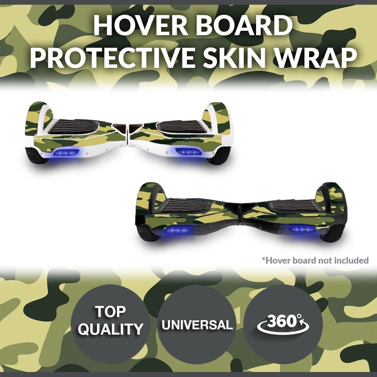 Self Balancing Electric Two Wheel Scooters - Hoverboard Protective Skin Skate Wrap - Balance Scooter Motorized Longboard Stickers Vinyl Decals Real 2 Wheel Protective Cover