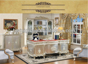 French Style Soild Wood Office Desk Set; Silver Color Wooden Office  Furniture,Classical Home