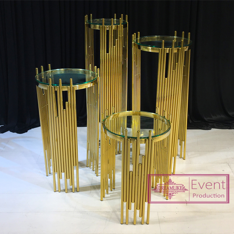 Wedding furniture gold stainless steel corner flower pot stand
