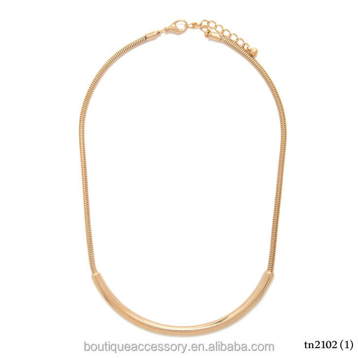 Wholesale Gold Cresent Bar Necklace