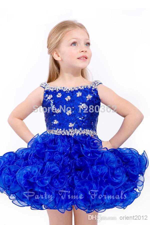 Buy White Blue Lively Princess Formal Dresses Gowns Sequins Beading Short  Flower Girls Dresses Gown Organza Mini Ball Gown Dresses in Cheap Price on  ... e98110b6c563