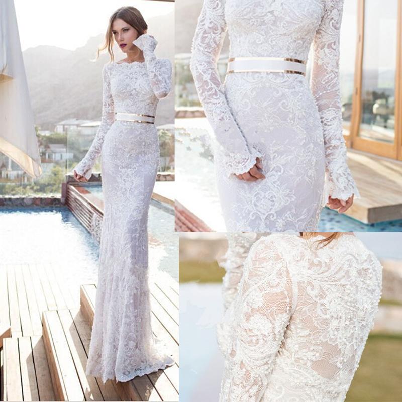 Robe De Soriee New Simple Wedding Dress Full Sleeve Lace: 2015 New Elegant Full Long Sleeves Mermaid Wedding Dresses