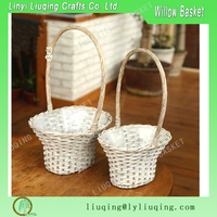 oval Christmas Flower Wicker Baskets Gift Hampers Plot Planter with long handle