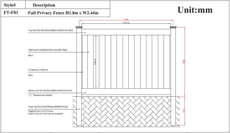 6x8 Ft Flat Top White Pvc Vinyl Plastic Privacy Fence