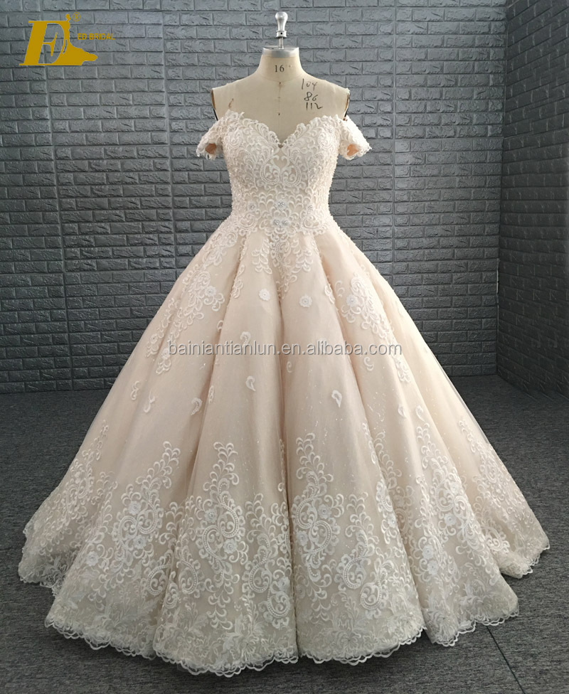New Collection Princess Wedding Gowns Heavy Hem Glitter Crystal