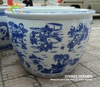 Grand Chinois Bleu Et Blanc En Céramique Pot De Fleur Pour La ...