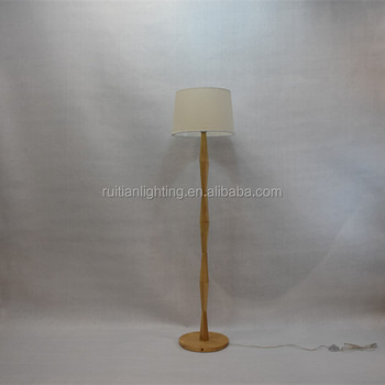 Decorative Wooden Floor Lamps With White Fabric Shade