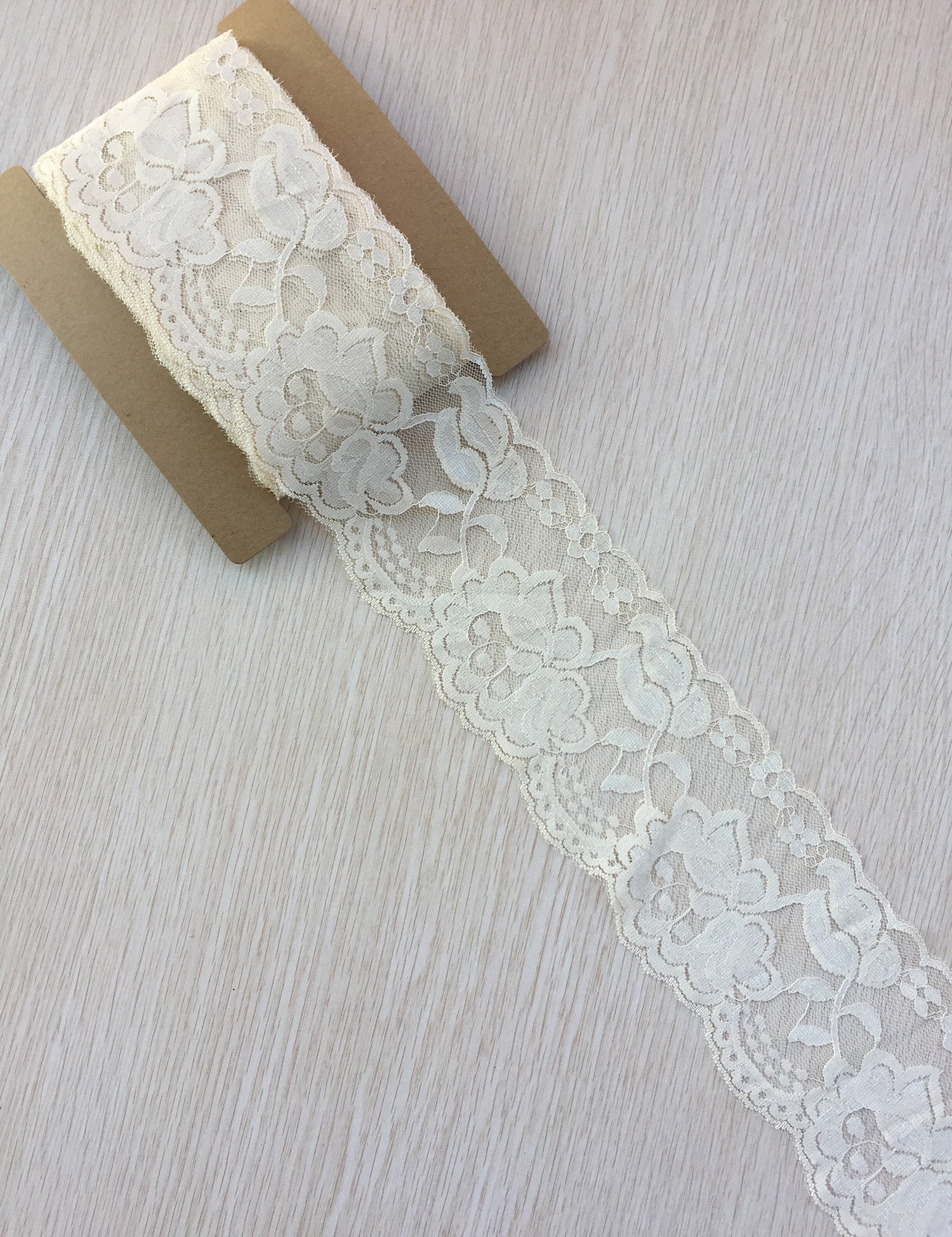 Expo International 7in April Chantilly Stretch Lace Trim Ivory