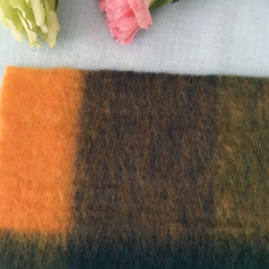 orange brown green color mohair checker jacquard wool mix knit fabric
