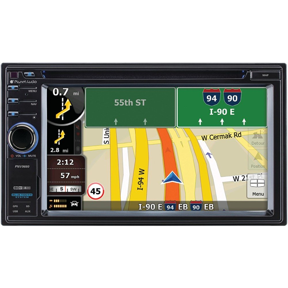 """1 - 6.2"""" Double-DIN In-Dash Navigation Touchscreen DVD Receiver with Bluetooth(R), 6.2"""" double-DIN in-dash DVD receiver, Widescreen touchscreen digital TFT monitor, PNV9680"""