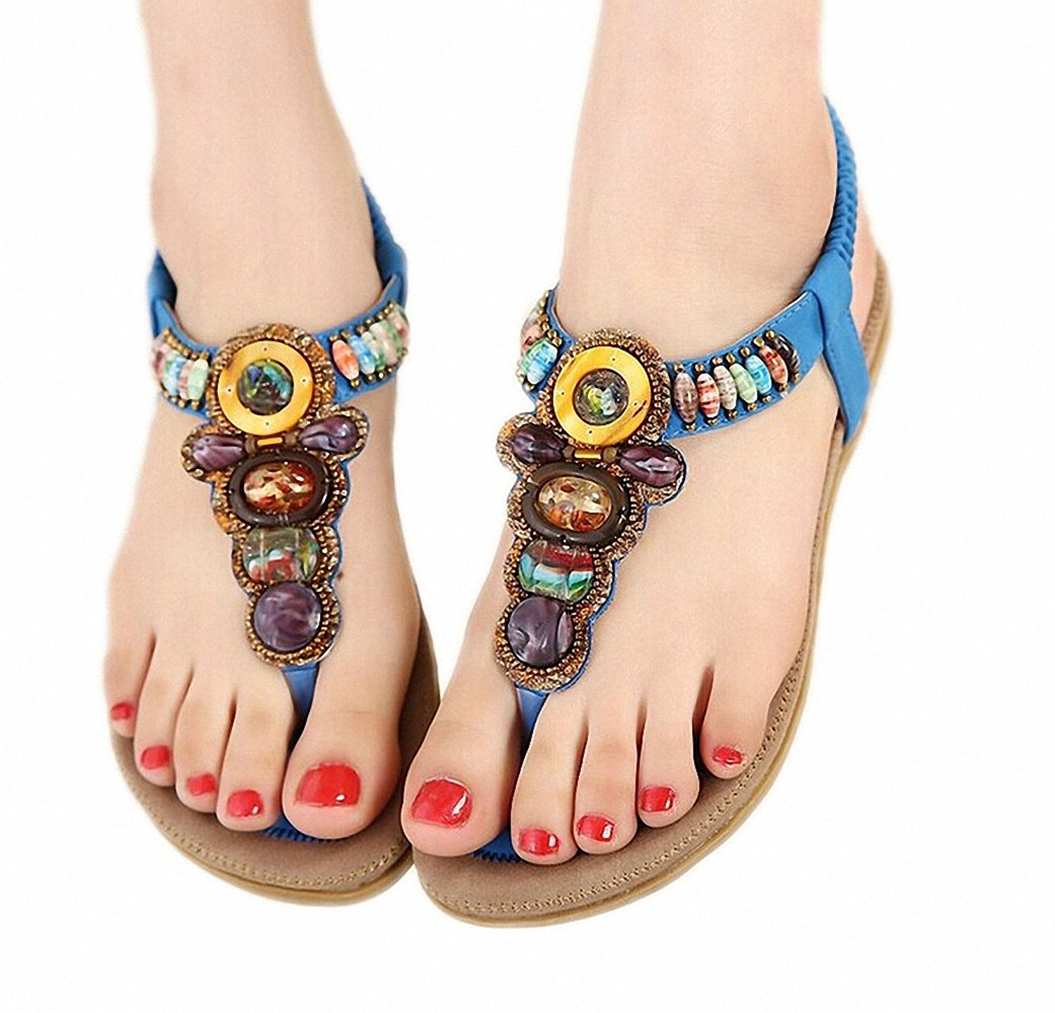 Get Quotations · Size 36-42 NEW Bohemian Women Sandals Gemstone Beaded  Slippers Summer Beach Sandals Women Flip fc910c73a25a
