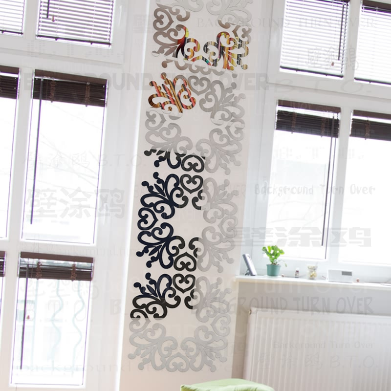 DIY elegant flower square ring acrylic wall mirror sticker 3D sofa wall TV backdrop home decoration wall art craft GBHH183