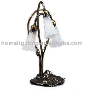 G-0316 Victorian Tiffany Style 3 Lily Lamp Light Pink Fluted Metal Base Table Lamp lighting products