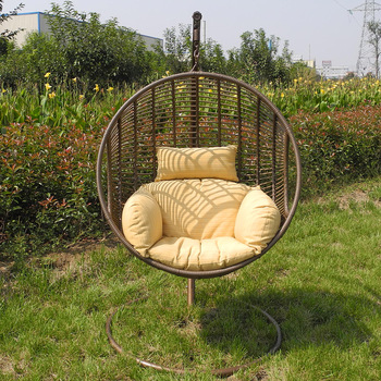 Hot Sell Water Proof One Seat Round Basket Outdoor Rattan Swing Hanging  Chair For RH44