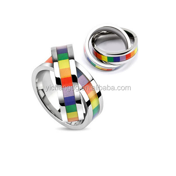 Double band linked ring pendant with pride chakra rainbow colors