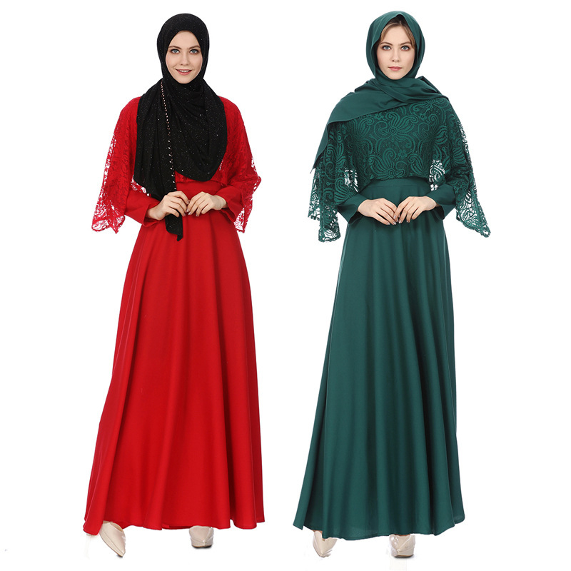 Fashion islamic clothing abaya lace embroidery abaya dress solid color polyester dubai abaya