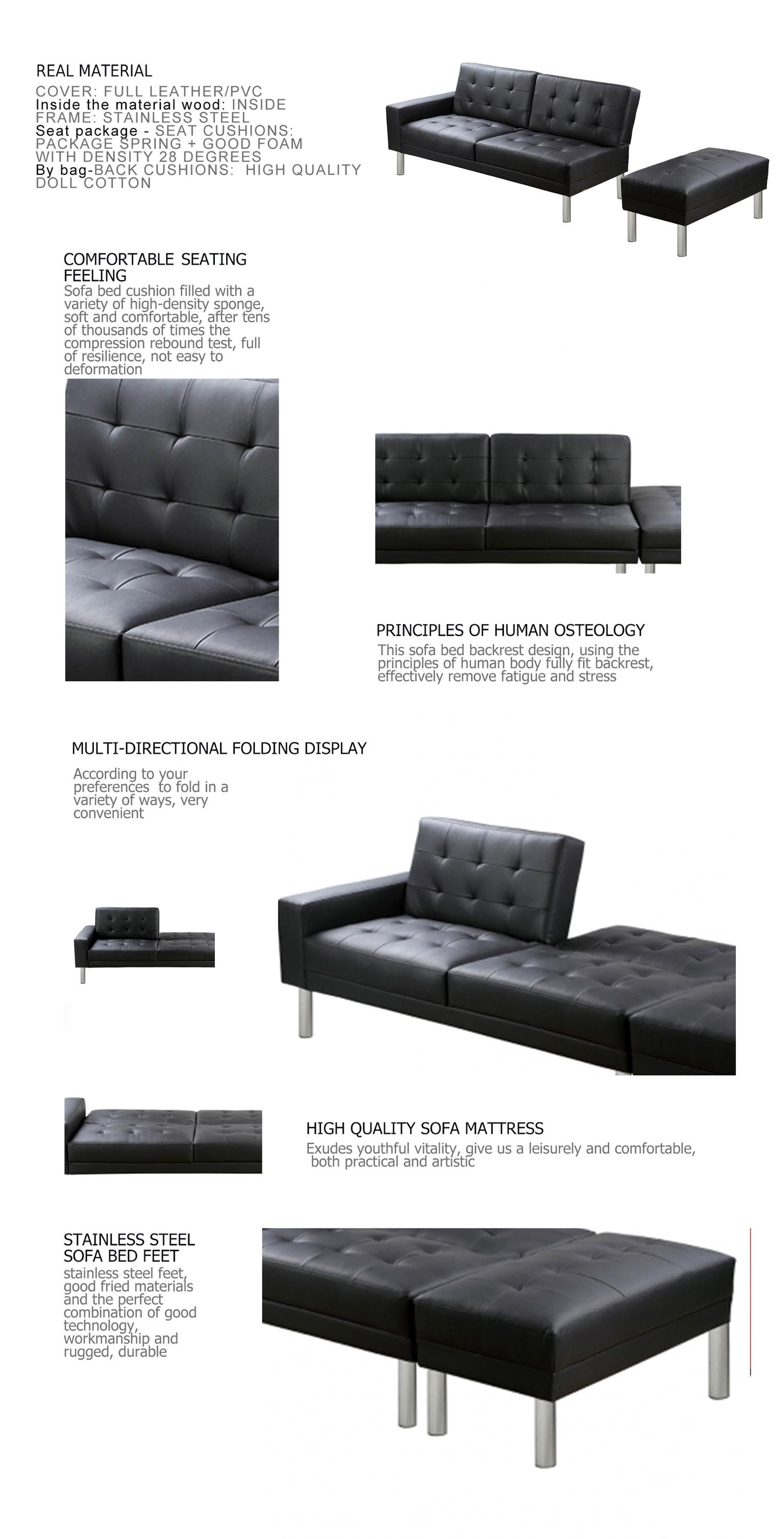 Black Sleeper Couch Modern Living Room Genuine Leather Sofa Bed  ~ Sleeper Sofa With Real Mattress
