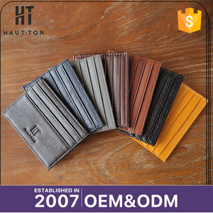 Top Selling Popular Minimalist Business Money Clip Card Case High Quality Genuine Split Cow Leather Credit Card Holder