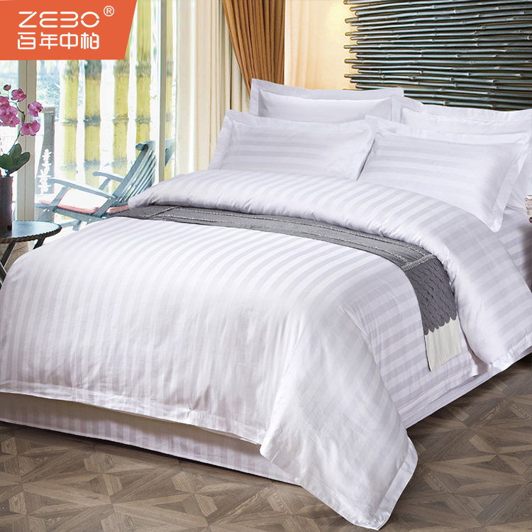 Wholesale Price Poly-cotton 3cm Satin Stripe White Color Disposable Hospital Bed Sheet