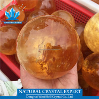 Wholesale Thorough Natural Citrine Crystal Ball Yellow Calcite Quartz Sphere
