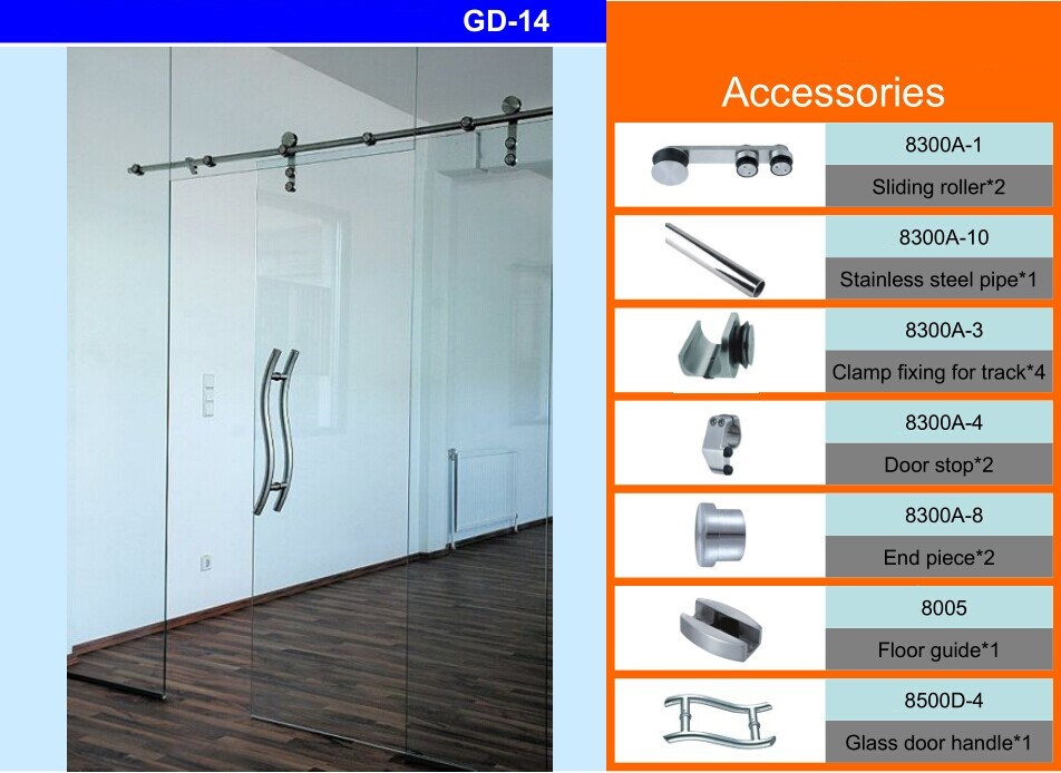 DOMO Glass Sliding Barn Door Hardware : Stainless Steel Fittings GD-14