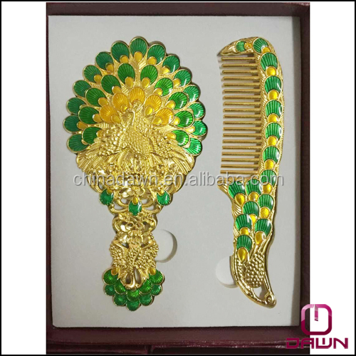 Peacock Wedding gift hand mirror comb set CD-MA176